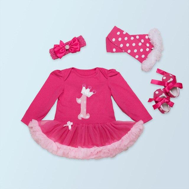 US $16.0 |Zuigeling Eerste Verjaardag Crown Rompertjes Jurk 4 stksset Baby Romper Jurk + schoenen + Hoofdband + Legging Baby Meisjes