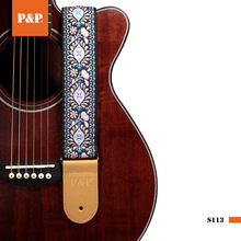 Вышитый акустический гитарный ремень жаккардовый регулируемый ремень для гитары хлопковый ремень коричневый кожаный концы синий красный цвет вариант