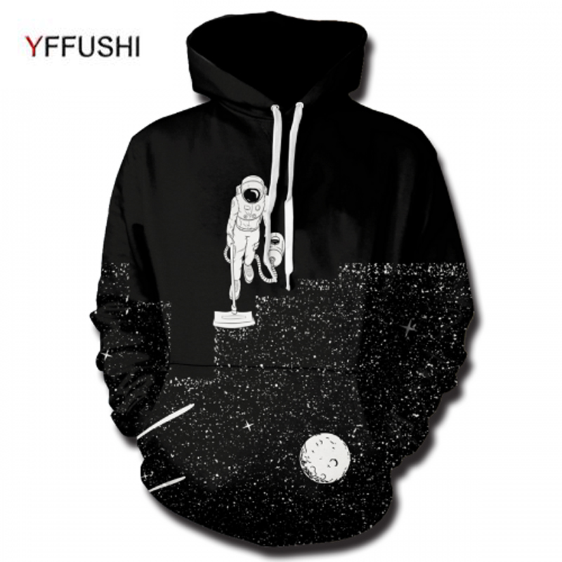 YFFUSHI 2018 Male Hoodies Fashion Astronaut Walking on Space 3d Printing Hooded Pullovers Hip Hop Style Loose Men Top Plus Size
