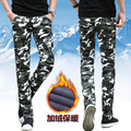 Casual camouflage pants male cashmere with thickened elastic warm small straight pants male size Korean army pants