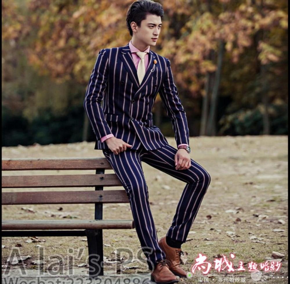 HOT 2017 New men s double breasted stripe suits Slim singer stage performances groomsmen dress Groom
