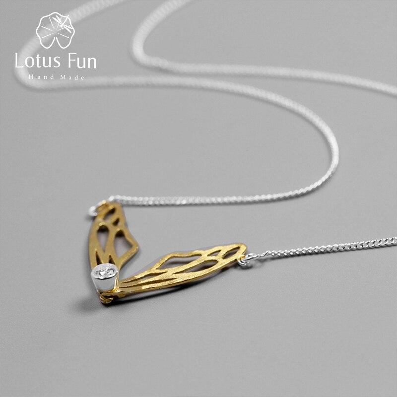 Lotus Fun réel 925 argent Sterling fait à la main Designer Original bijoux fins creux papillon ailes pendentif collier pour les femmes