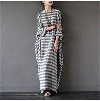 JG1 Summer Dresses Vintage Striped Batwing Sleeve Robe Maxi Long Loose Plus Size Women Dress Casual