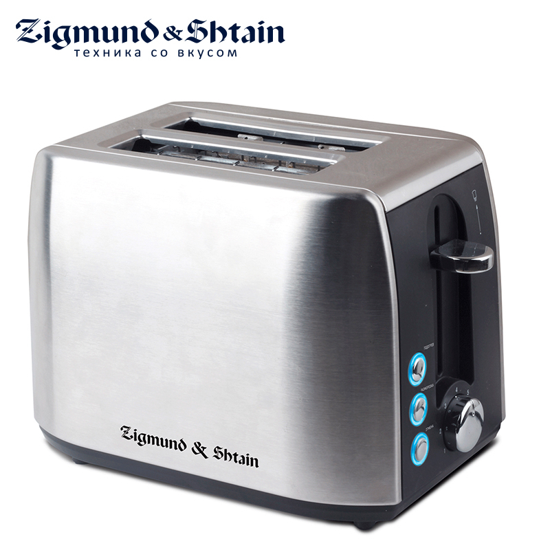Zigmund & Shtain ST-85 Toaster Household Automatic Bread Toaster Baking Breakfast Machine Stainless steel 2 Slices Bread Maker 4pc lot dr ms07 220v stainless steel dual 60w ultrasonic cleaner machine with display for jewelry glasses circuit board