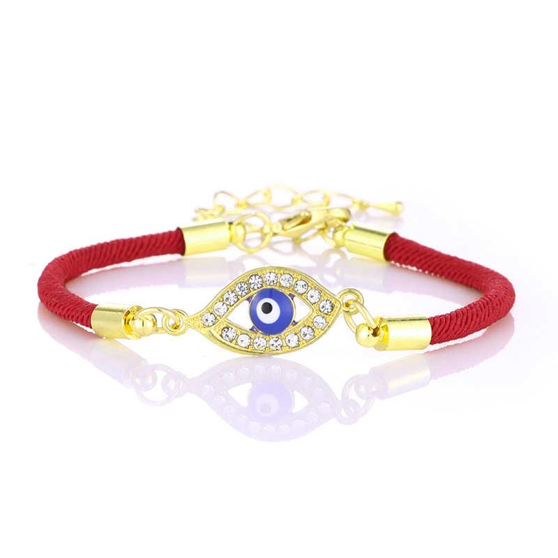 Chanceux rouge corde turc bleu mauvais œil bracelet à breloques mince rouge corde fil chaîne Bracelets pour Couples amoureux cadeaux en gros