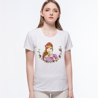 Nothing Letter Print T Shirt Roses Girl Cup T Shirt Cartoon Design Summer Casual Funny Brand