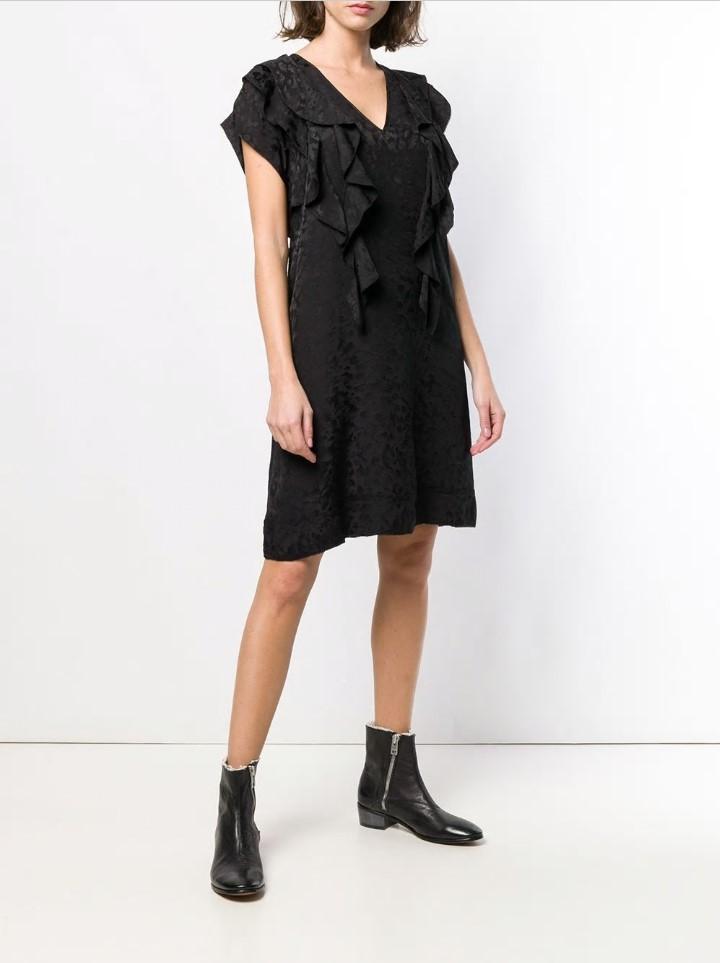 Kadın Giyim'ten Elbiseler'de 100% IPEK Siyah LEOPAR Jackqard Elbise Kolsuz V Yaka Ön Arka Toplanan Ruffles Yüksek Kaliteli Kadın elbise 2019 Moda'da  Grup 1