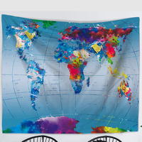 Newest World Map Tapestry Colored Printed Decorative Mandala Tapestry 150x130 CM Boho Wall Carpet Home Decor