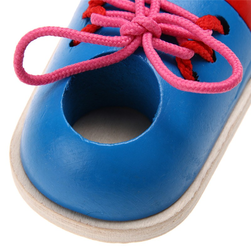 1pc Kids Montessori Educational Toys Children Wooden Toys Toddler Kids Lacing Shoes Early Learning Toy Montessori Teaching Aids 9