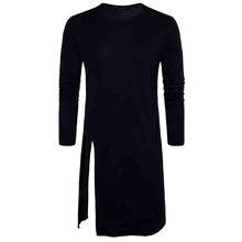 HOT 2017 New Fashion men hip hop artist Design black white long t-shirts male style Open fork T-shirt