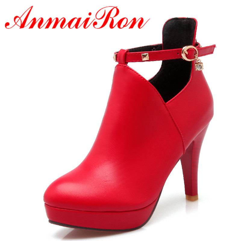 ANMAIRON High Heels Round Toe Buckle Strap Rhainstone Platform Shoes Woman Large Size 34-43 Ankle Boots for Women Winter Boots блокнот мои новые планы на счастье мини нелинованный красный