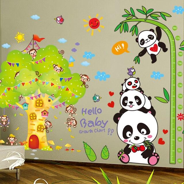 [SHIJUEHEZI] Panda Bamboo Wall Stickers Vinyl DIY Monkeys Tree House Wall Art for Kids Room Kindergarten Decoration