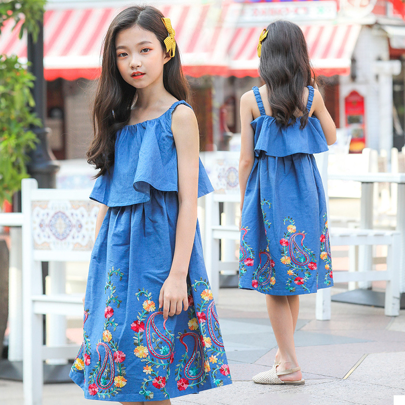 Children Teenagers Girls Summer Cotton Denim Cowboy Strap Dress For Girls Korean Sweet Princess Dress New 4 6 8 10 12 14 Years
