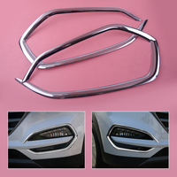 DWCX 1Pair 2Pcs ABS Chrome Front Head Fog Light Lamp Cover Trim Foglight Shade Frame Bezel