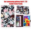 "Для Samsung galaxy tab 4 tab4 7.0 T230 231/T235 7 ""цветок печатных ткань чехол защитный tablet чехол + пленка + стилус"