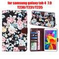 "Para samsung galaxy tab 4 tab4 7.0 t230 231/t235 7 ""flor impresa tela funda protectora de la tableta caso de shell + film + stylus"