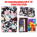 "for Samsung galaxy tab 4 tab4 7.0 T230 231/T235 7"" flower printed cloth case cover protective tablet shell case+film+stylus"