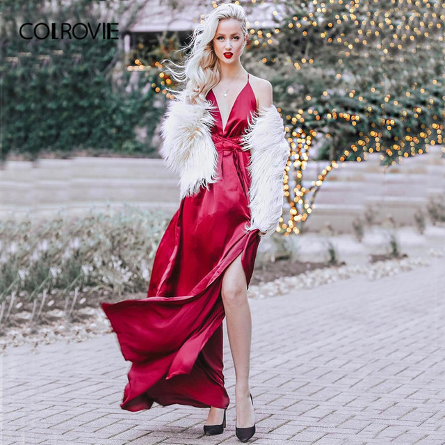 1db2686d62d COLROVIE High Slit Wrap Satin Maxi Dress Plunge Neck Cross Back Women Sexy  Draped Long Dresses