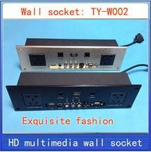Tomada de parede  HD de áudio e Vídeo HDMI VGA RJ45 REDE painel de tomada de informação/multimedia home hotel quartos de KTV parede tomada TY-W02