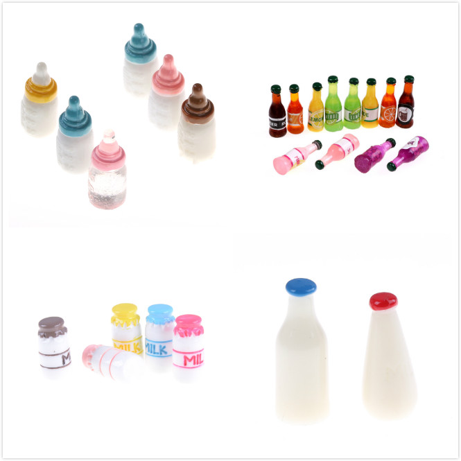 2/3pcs Mini Milk Wine Water Bottles Dollhouse Miniature Toy Doll Food Kitchen Living Room Accessories Kids Gift Pretend Play Toy