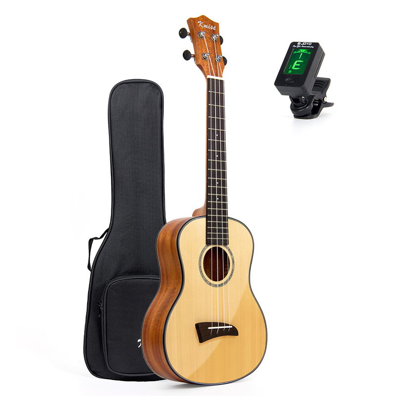 Kmise Solid Spruce Ukulele Tenor Ukelele 26 inch Clear Gloss Mahogany Bone Nut Saddle Aquila String with Gig Bag Tuner kmise soprano ukulele spruce 21 inch ukelele uke acoustic 4 string hawaii guitar 12 frets with gig bag