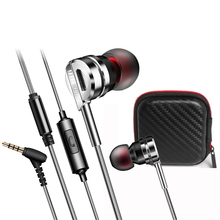 Original Fonge Brand Earphone with Earphone Box 3.5mm Super Bass Hifi Stereo Hands Free Metal Earphone with Mic for Mobile Phone