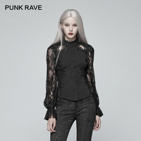 PUNK RAVE New Gorgeous Gothic Retro Lace Long Sleeve Shirt Victorian Casual Women Jacquard Hollow Out Tops Fashion