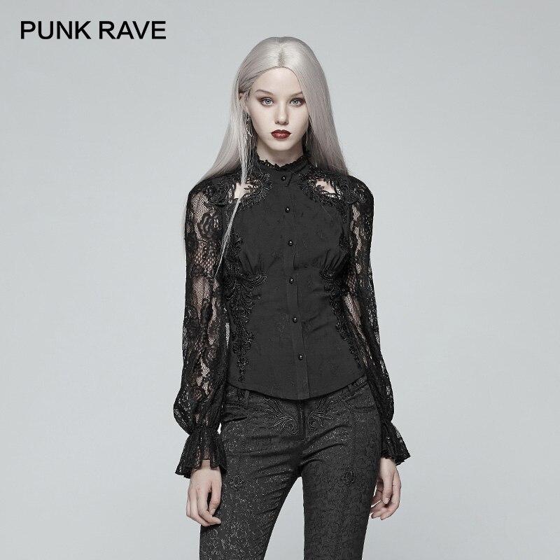 PUNK RAVE nouveau magnifique gothique rétro dentelle à manches longues chemise victorienne décontracté femmes Jacquard évider hauts mode