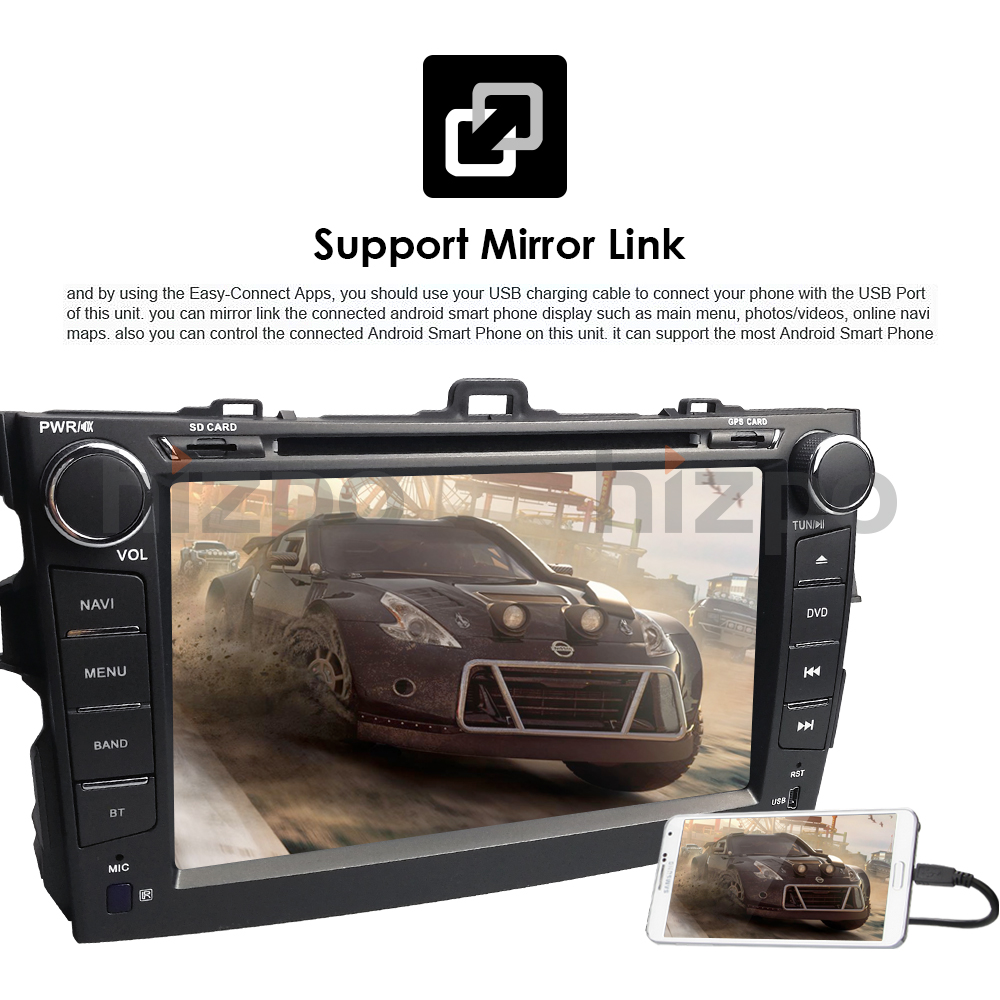"Hizpo CarDVD Player For Toyota Corolla8""Touch Screen GPS Stereo iPhone Music/AM FM Radio/SWC/Bluetooth/3G/AV-IN Map Rear Camera"