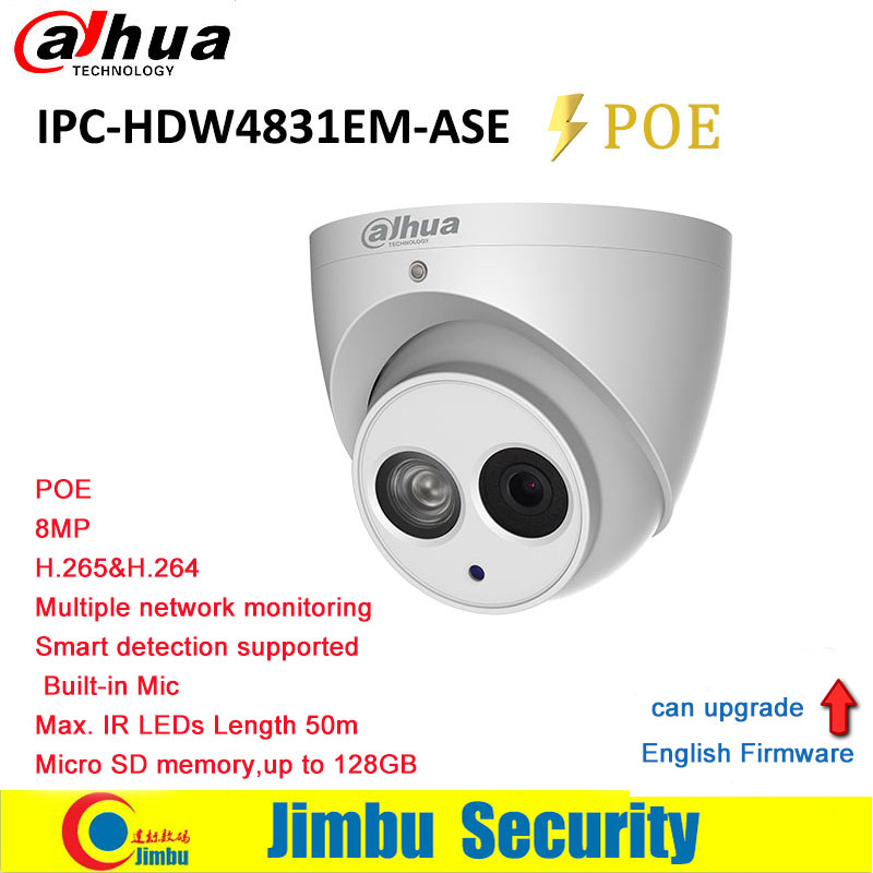 Dahua IP Camera 8MP POE IPC-HDW4831EM-ASE Face Detection IR50m built-in Mic H.265 Micro SD Up T 128GB memory IP67 CCTV Camera dahua 2mp covert supper mini ip camera ipc hum8230 h 265 poe with unit l1 and l3 micro sd memory without dahua logo