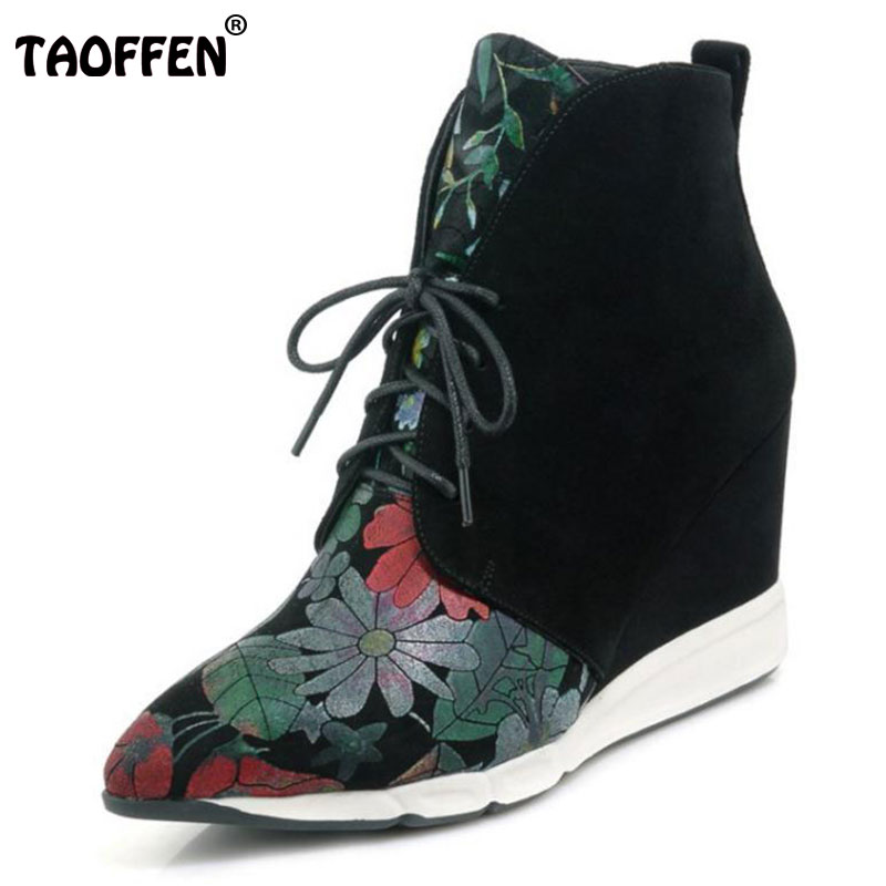 TAOFFEN Women Real Leather Wedges Boots Ladies Flower Height Increasing Shoes Woemn Sexy Pointed Toe Winter Botas Size 34-39 2015 retro elastic band rivets height increasing pointed toe platform 2 colors real leather mid calf boots women outdoor shoes