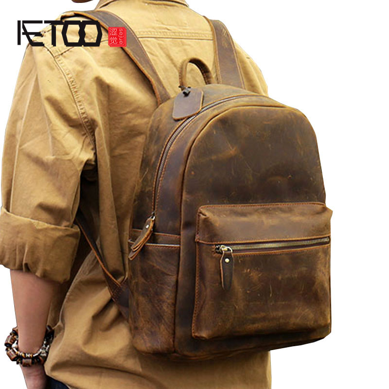AETOO Classic new to do the original first layer of leather men's shoulder bag leather retro backpack aetoo spring and summer new leather handmade handmade first layer of planted tanned leather retro bag backpack bag