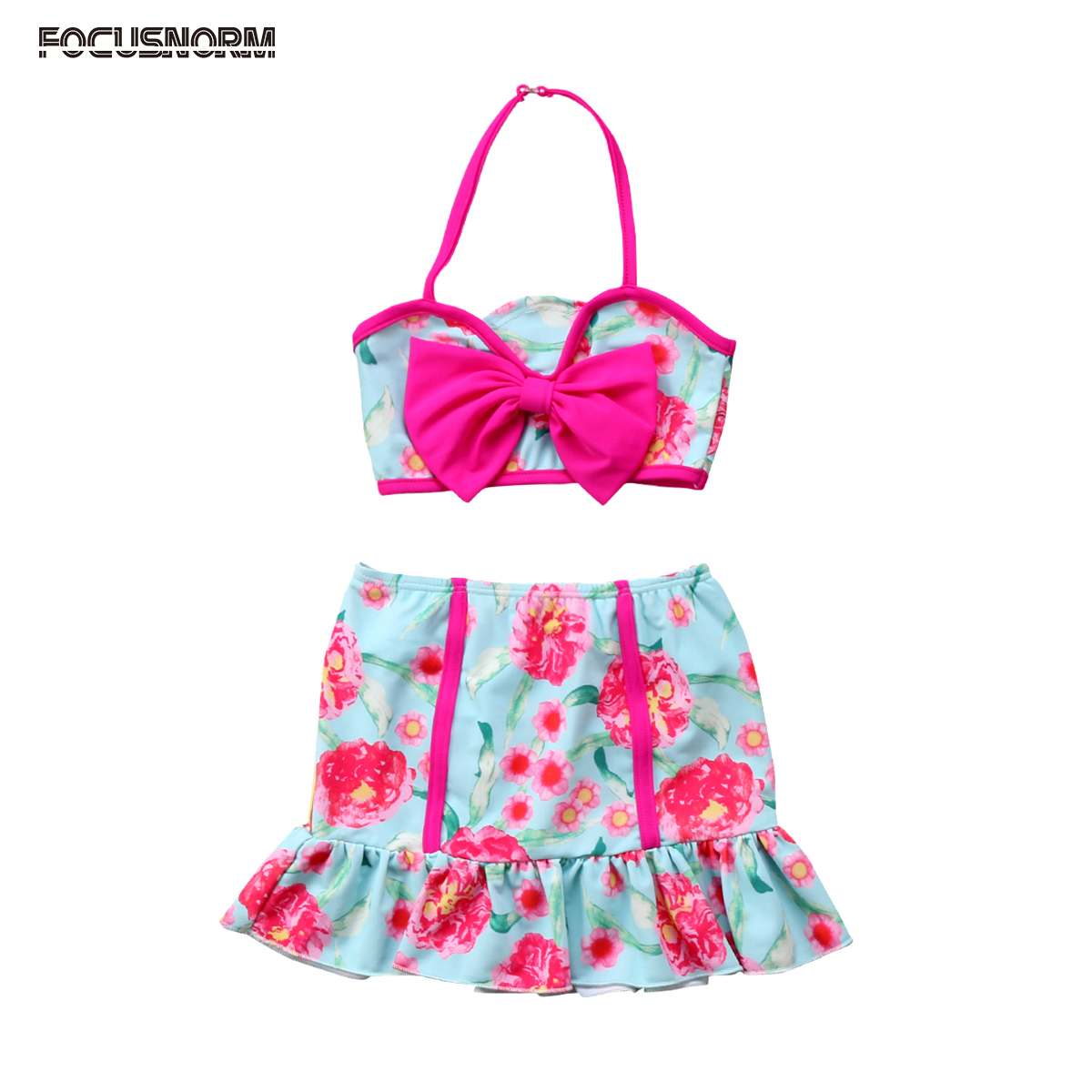 Sporting Summer Fashion Kids Girls Swimwear Bow Bikini Set Baby Crop Top + Ruffle Skirt + Long Sleeves Cove Up 3pcs Clothes Set Waterproof, Shock-Resistant And Antimagnetic