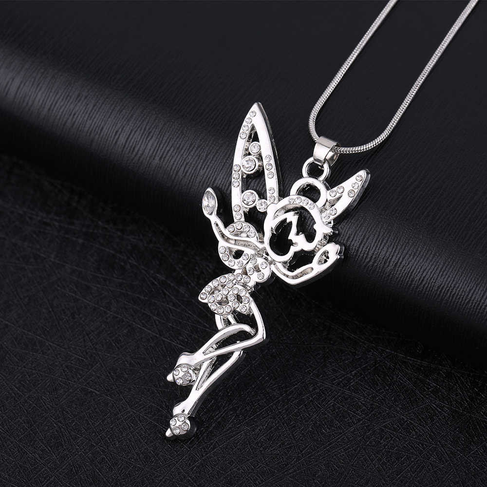 My Shape Tinkerbell Fairy Angel Jewelry Clear Rhinestone Necklace Crystal Wings Silver Plated Pendant for Teen Girls And Women