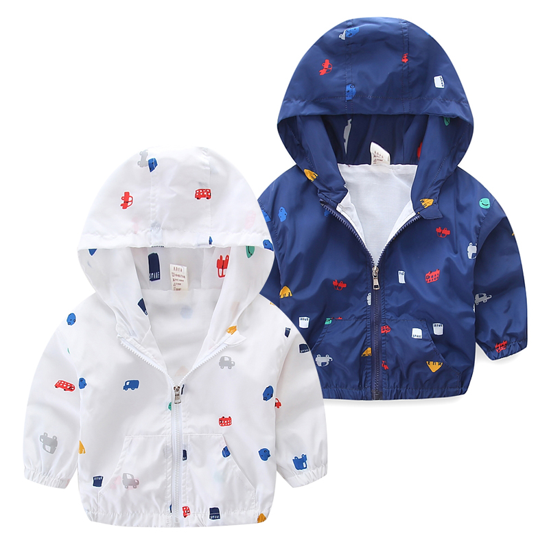 2018 Spring Summer Children's Windbreakers Baby Coat Jacket Boys Jackets Girls Print Car Thin Blazer Casaco Meninas Graffiti