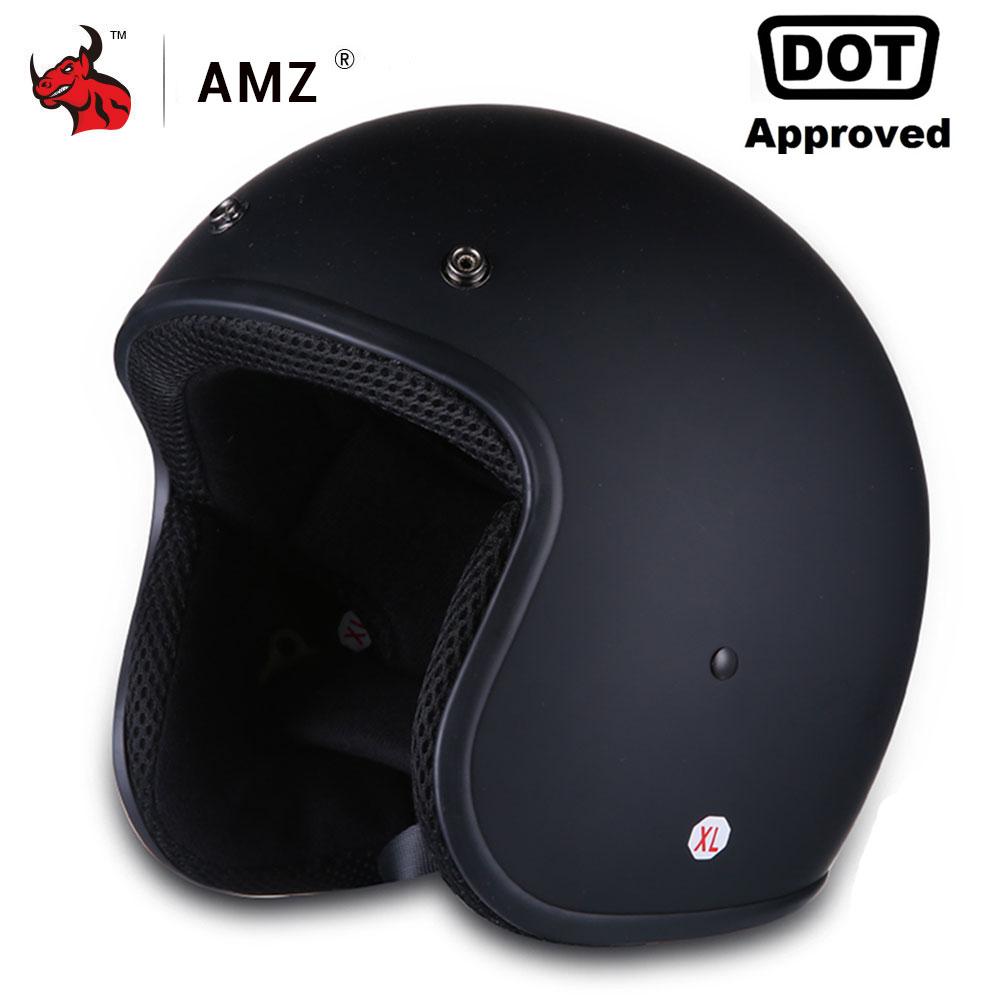 AMZ Motorcycle Helmet Vintage Retro Half Face Moto Helmet Casco Casque Old School Casco Scooter Helmets