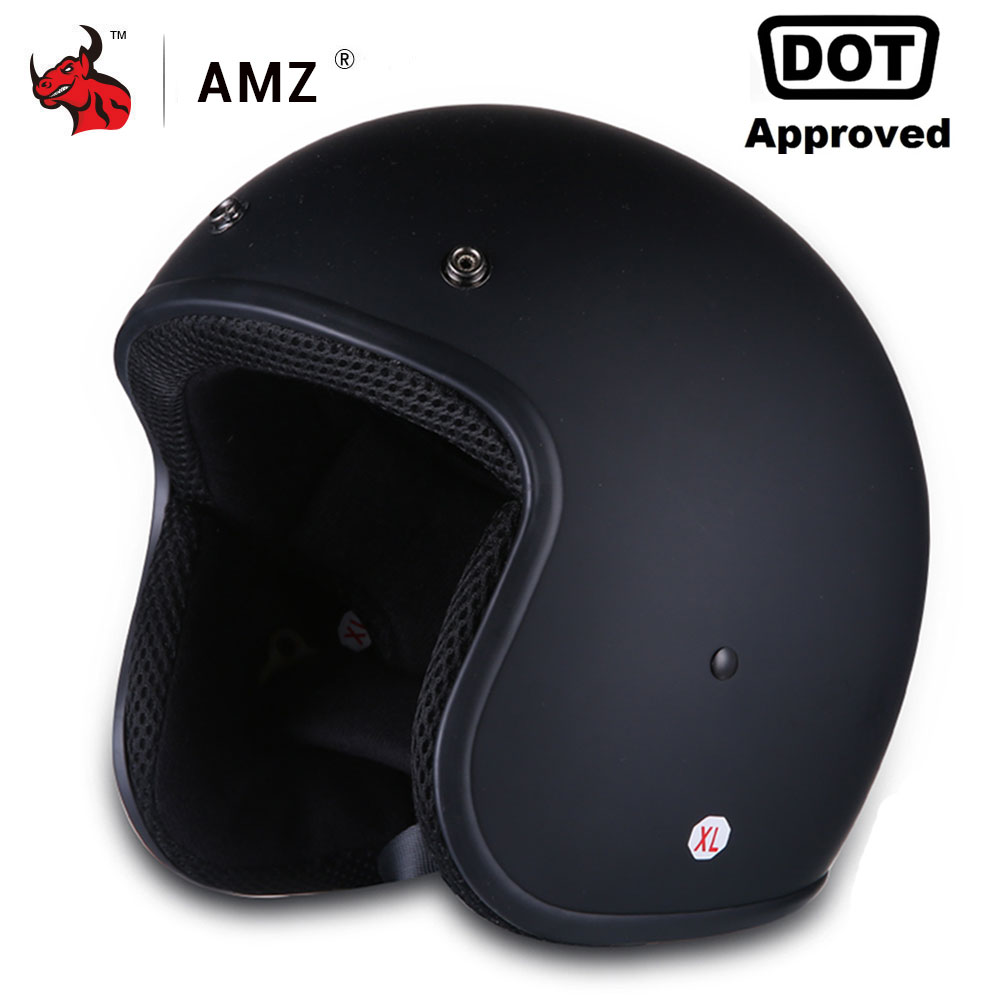 AMZ Motorcycle Helmet Vintage Retro Half Face Moto Helmet Casco Casque Old School Casco Scooter Helmets With Inner Sun Visor DOT amz motorcycle helmet retro vintage jet scooter helmet bicycle racing harley open face helmets capacete casque moto dot approved