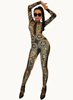 Gold Spandex Printed Stretch Rhinestones Jumpsuit Women's Sexy Bodysuit Costume Stage Outfit Singer Dancer Performance Rompers