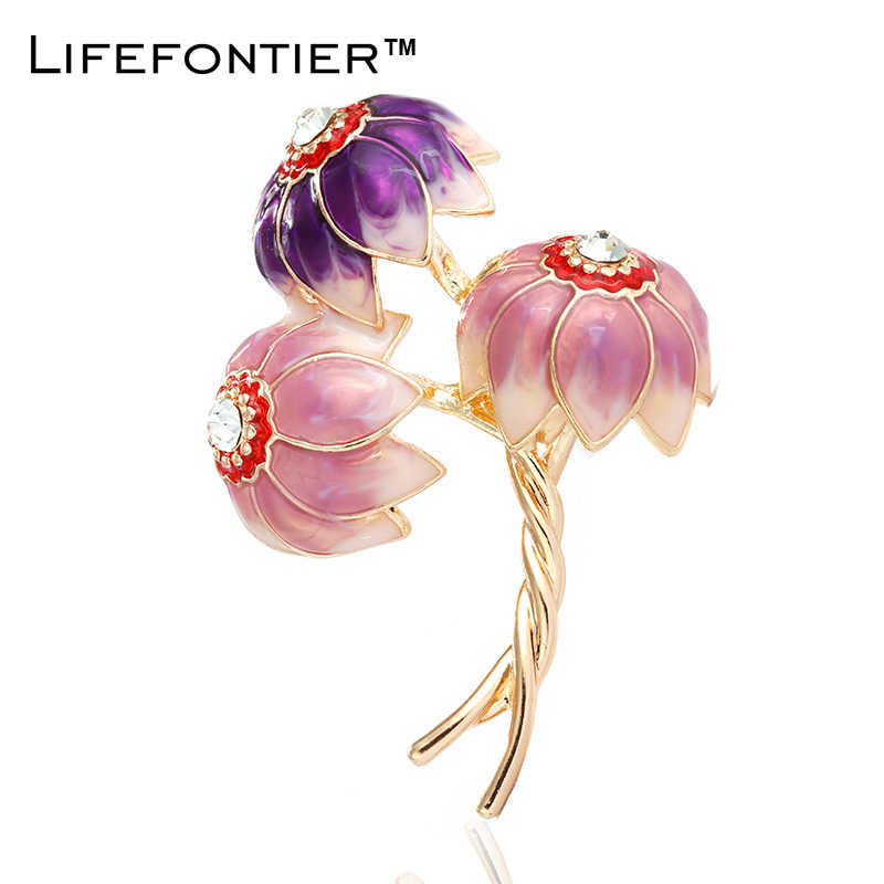 Lifefontier Pink Sea Flower Brooch For Women Female Elegant Party Brooch Costume Dress Lapel Pin Large Brooch Jewelry Decoration