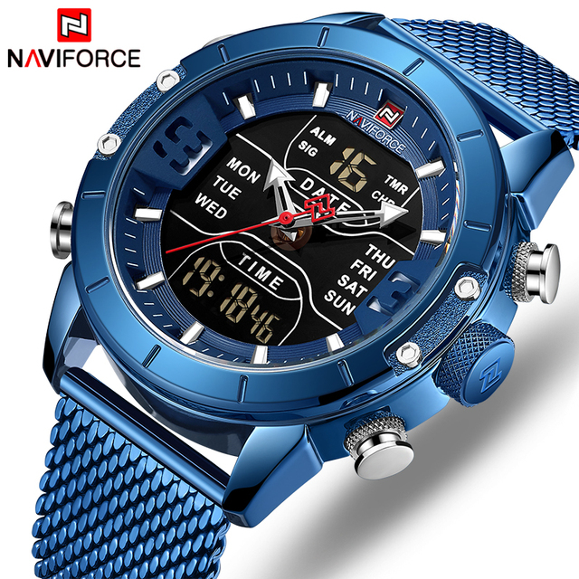 NAVIFORCE Men's Dual Display Mesh Belt Military Waterproof LED Clock Sports Quartz Watches
