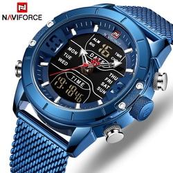 5fb66f07a617 NAVIFORCE Watch Men Mesh belt Military Watch 30m Waterproof Wristwatch LED  Quartz Clock Sport Watch Male