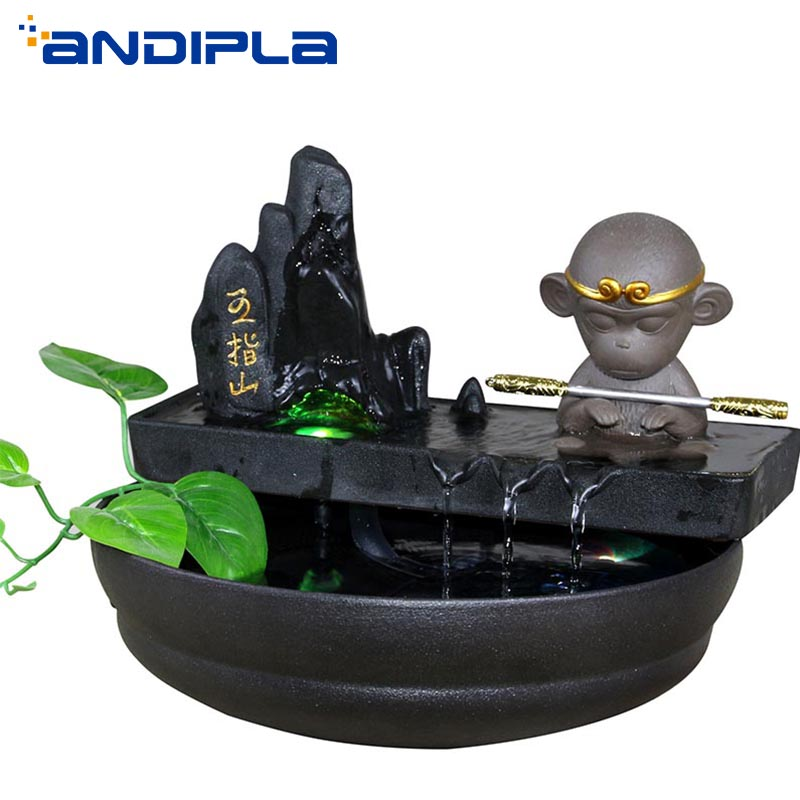 110-240V Creative Rockery  Flowing Water Fountain Ceramic Fish Tank Lucky Lovely Monkey King Desktop Ornaments Living Room Decor