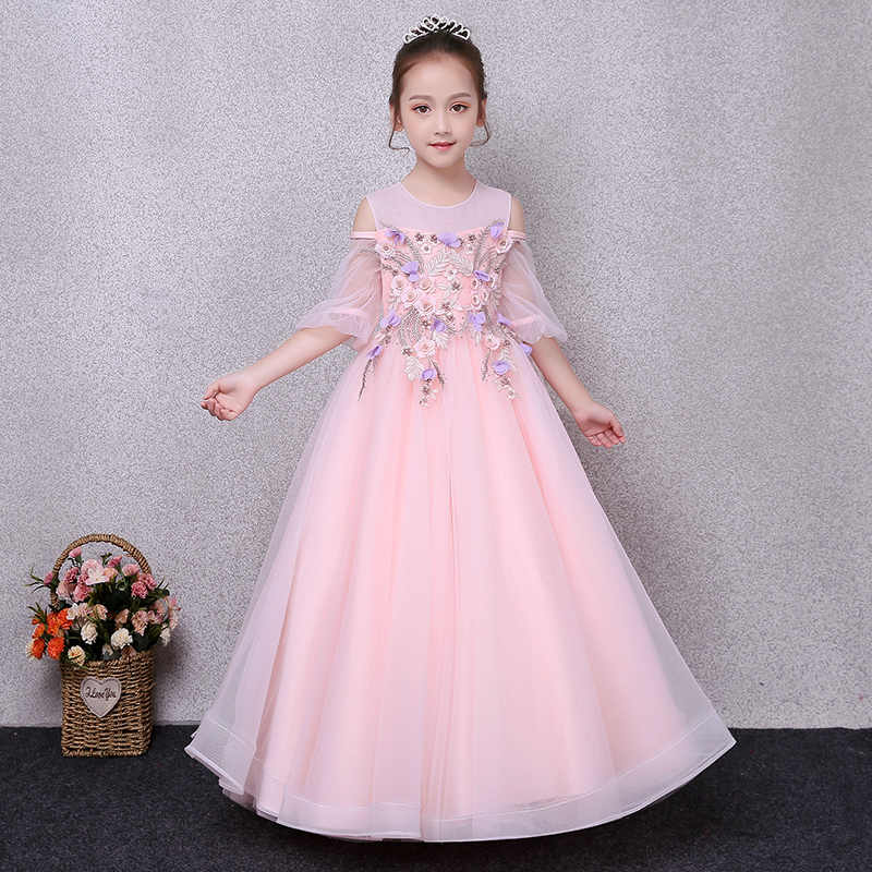 2018 Children Girls Pink Color Birthday Wedding Party Flowers Princess Long Dress Kids Baby Formal Wear Princess Dress 3~13years 2017 new high quality girls children white color princess dress kids baby birthday wedding party lace dress with bow knot design