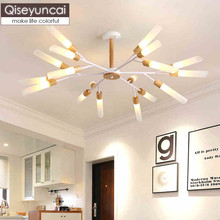 Qiseyuncai Nordic style log creative living room chandelier modern minimalist hall restaurant master bedroom study lamp