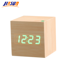 JINSUN Alarm Clock Sound Control Wooden Led Clock Square Style Desktop Clock Led Digital Single Face