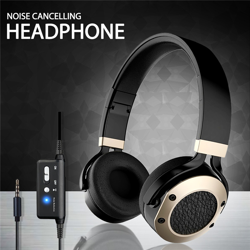 3.5mm Musical Gaming Active Noise Canceling Aviation Headphone Foldable Headset Stereo Sound Wired Headphones with Microphone ditmo dm 4900 foldable wired 3 5mm plug stereo headset headphones w microphone for iphone 5 white