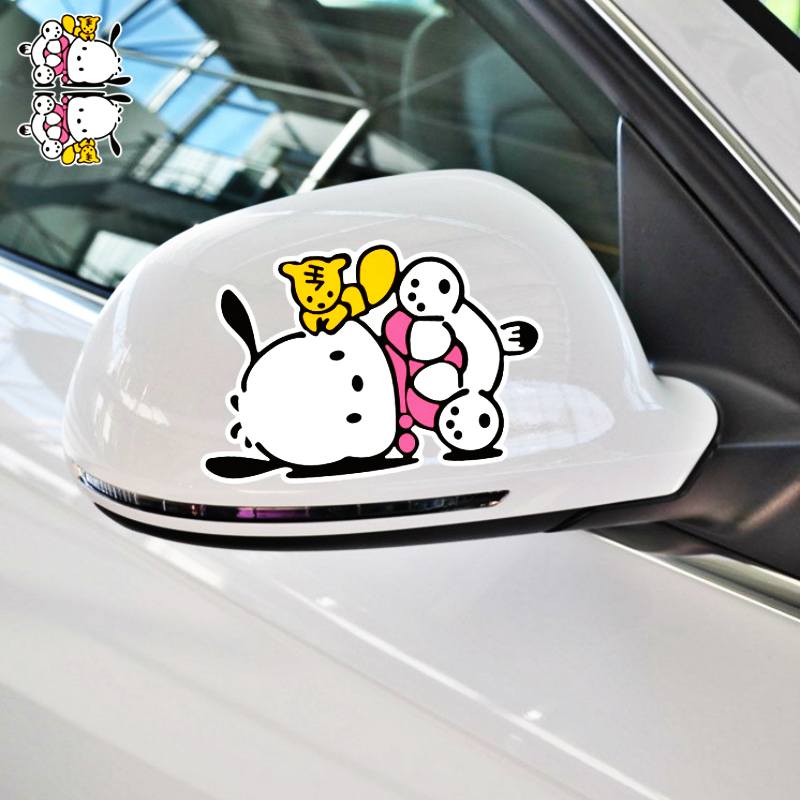 Volkrays 2 X Car Accessories Cartoon Pochacco Dog Rearview Reflective Sticker Decal Decoration For Motorcycle Audi Polo Honda