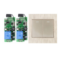 AC110V 220V 250V 2CH 10A RF Wireless Remote Switch Wireless Light Switch 1 2 Button Golden