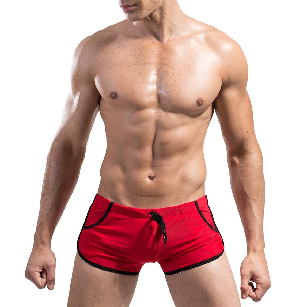 Mens Pocket Swim Trunks Front Tie Swim Trunks Swimming Briefs Swimsuit Beach Shorts Swimwear (Red)Mens Pocket Swim Trunks Front Tie Swim Trunks Swimming Briefs Swimsuit Beach Shorts Swimwear (Red)