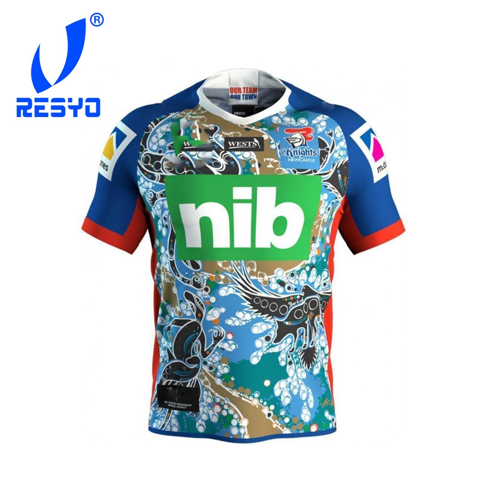 RESYO For Newcastle Knights 2019 Men's Replica Indigenous Jersey Sport Shirt Size:S-XXXL
